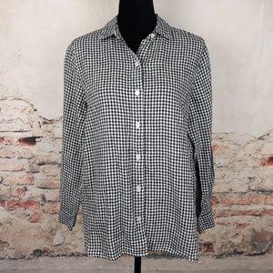 J Jill Love Linen XS Black White Gingham Shirt